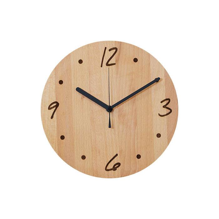 HIDAKAGU / 4386920/ウォールクロック 丸moji ビーチ / PL1TIM-0041250-BEOL / 掛け時計 木製 おしゃれ アナログ
