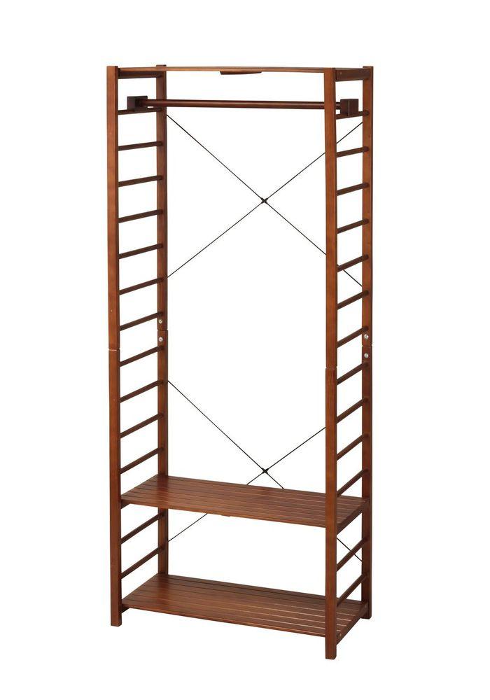 木製ハンガーラック PIR-HG1842(BR) / ブラウン / 4933178122754 弘益 / 収納家具 ラック コートハンガー