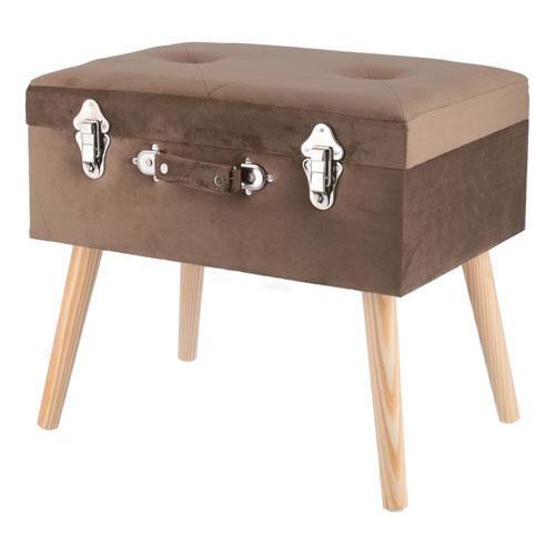 トランクスツール brown 収納付 椅子 一人掛けベンチ