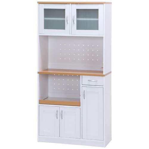 キッチンボード サージュ WH×NA 90幅 収納家具 キッチン収納