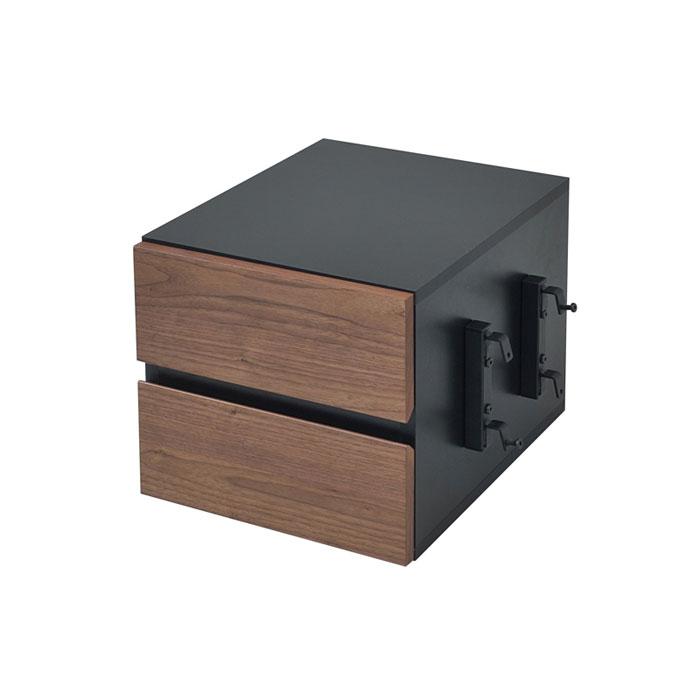 【 Re・conte Ladder Desk NU (CHEST) / ブラック×ブラウン 】 チェスト / オプション 引掛けチェスト スタイリッシュ シック モダン / NU-002-BKBR