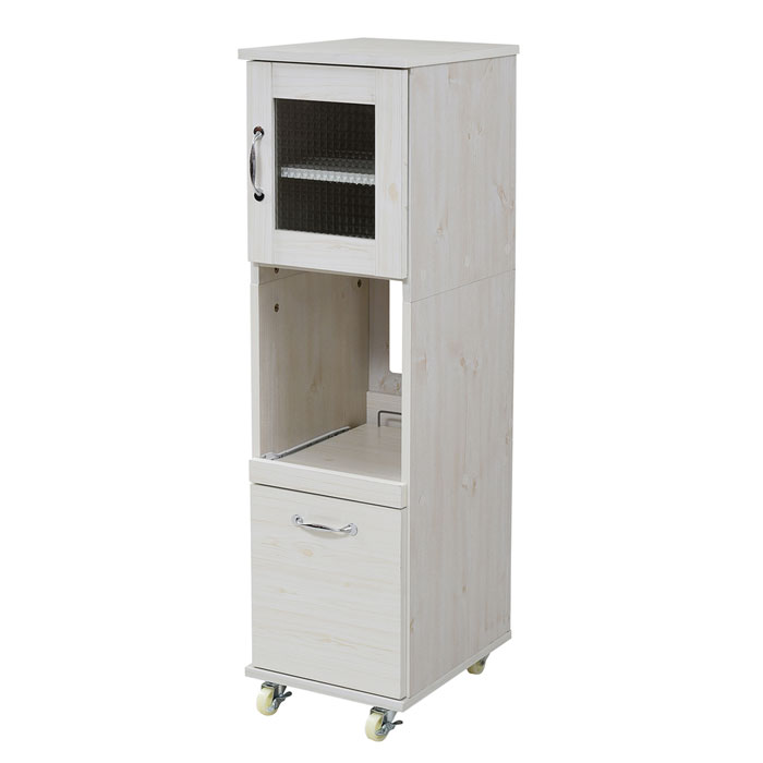 jkプラン スリム キッチンラック 食器棚 隙間タイプ レンジ台 レンジラック 幅 32.5 H120 ミニ 収納 すきま収納 収納棚 ロータイプ 深型 引き出し レンジワゴン すき間 隙間キッチン FLL-0067-WH