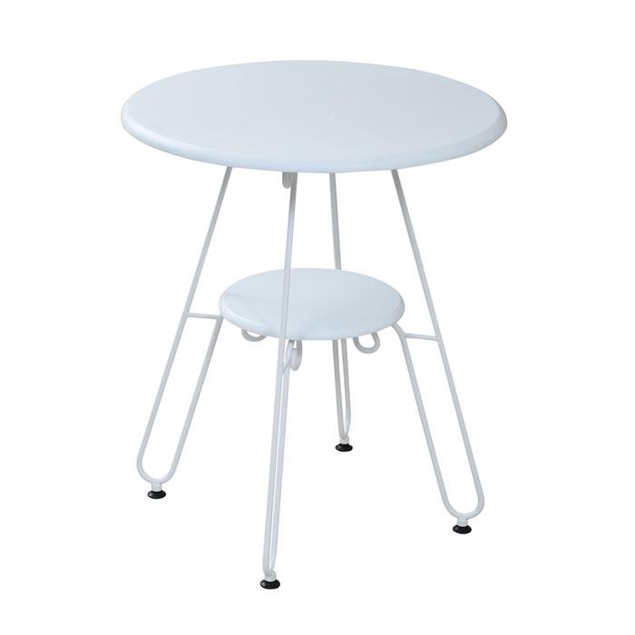 jkプラン ロートアイアン シリーズ 丸 テーブル 幅60cm 脚 アンティーク風 クラシック レトロ アイアン家具 一人暮らし ヨーロッパ風 カフェテーブル 高さ70 棚付き IRI-0051-WH