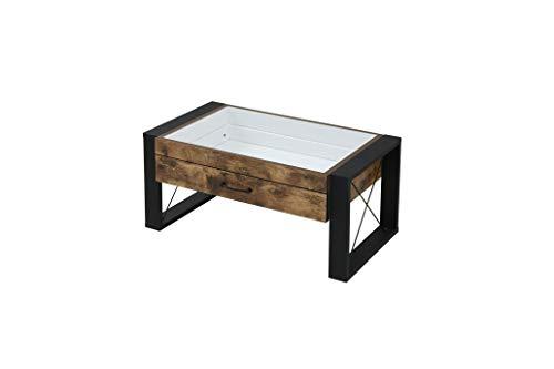 センターテーブル FBR-0005-BKBR JKプラン ジェイ・ケイ・プラン株式会社 ブルックリンスタイル コレクション センターテーブル 幅75 奥行48 高さ35 引き出し ガラス テーブル ローテーブル リビング BKBR