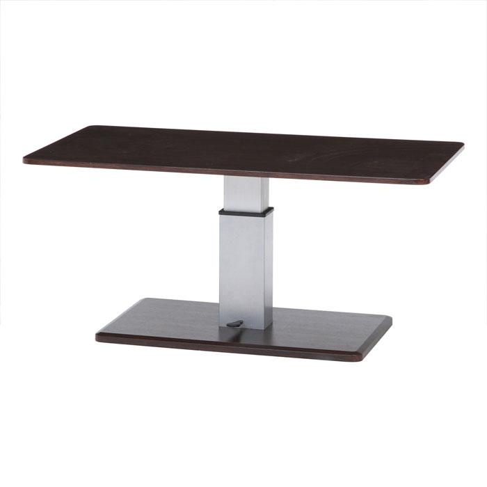 不二貿易 昇降テーブル 幅120cm 高さ42.5~56.5cm ブラウン シルバー 10498