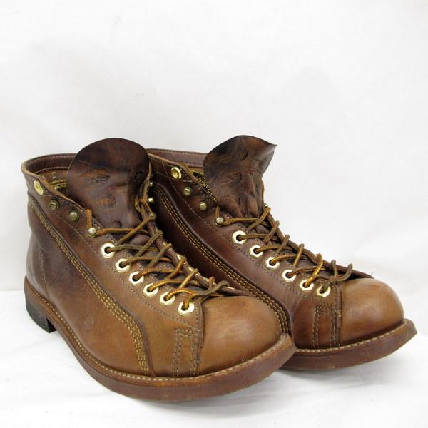 Thorogood ソログッド レザーブーツ ルーファーブーツ レーストゥトウ 824-4335 紐靴 ブラウン 8 26cm相当 USA メンズ シューズ くつ メンズ 東大阪店 【中古】