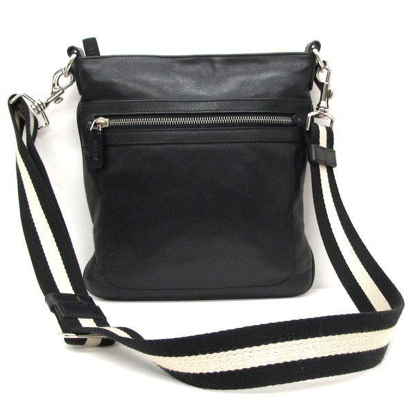 Bally Barry Bag Shoulder Black Leather Crossbody Men Gap Dis Made In Switzerland Higashiosaka