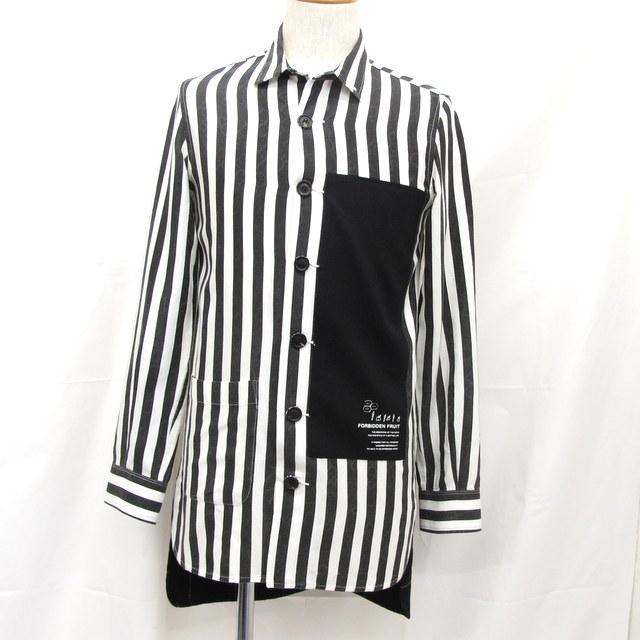 SHAREEF シャリーフ シャツ 14SS ストライプ ショップコートロングシャツ 白黒 ブラック ホワイト サイズ1 トップス メンズ 日本製 東大阪店【中古】