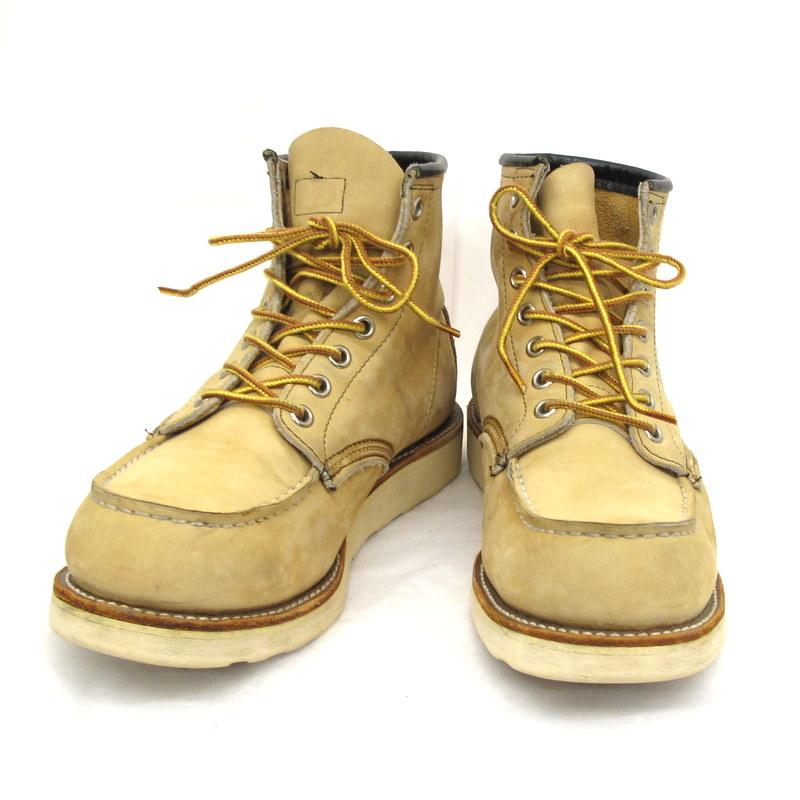 REDWING レッドウィング ブーツ ベージュ ヌバックレザー セッターブーツ モックトゥブーツ MADE IN USA サイズ8E メンズ 靴 くつ シューズ 東大阪店【中古】
