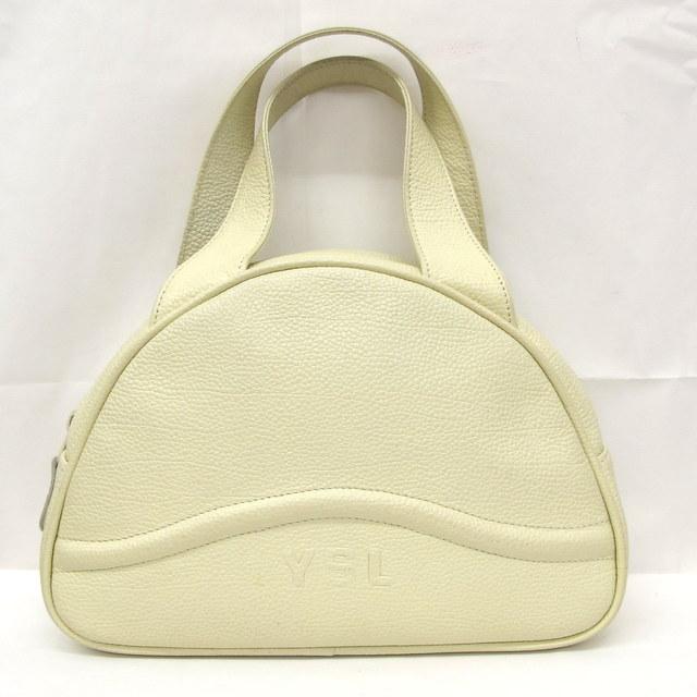 fe16dea5fbd4 YVES SAINT LAURENT イヴサンローラン ハンドバッグ オフホワイト ロゴ型押し シンプル 無地 カジュアル レディース