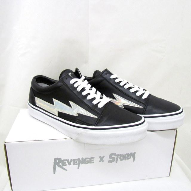 REVENGE STORM リベンジストーム スニーカー ブラック ホワイト 靴 シューズ メンズ US10 28cm相当 BLACK WHITE メンズ 紐靴 箱付き 東大阪店【USED】