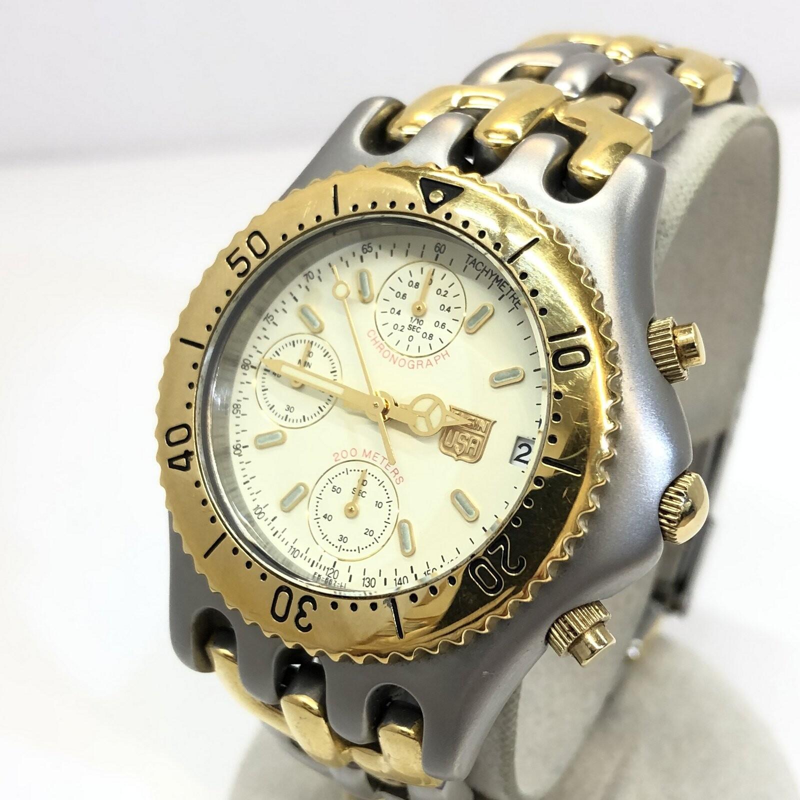 ELGIN お見舞い エルジン 驚きの値段で 腕時計 アナログ クォーツ FK-667-LI クロノグラフ デイト シルバー 中古 メンズ ITQB8TP0OR7V 回転ベゼル ステンレス ゴールド T東大阪店 コンビ RY4908