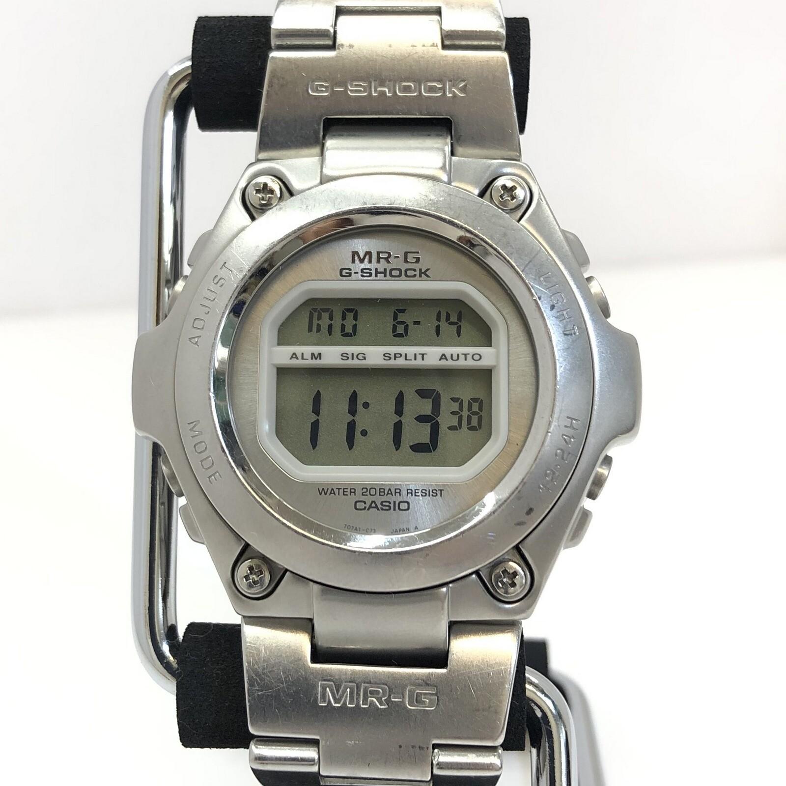 G-SHOCK ジーショック CASIO カシオ 腕時計 MRG-100 MR-G アウトレット デジタル クォーツ ラウンドフェイス シルバー RY4843 メンズ チタン 希少 フルメタル IT7UB03U7PS0 レア 日時指定 中古 T東大阪店 ビジネス