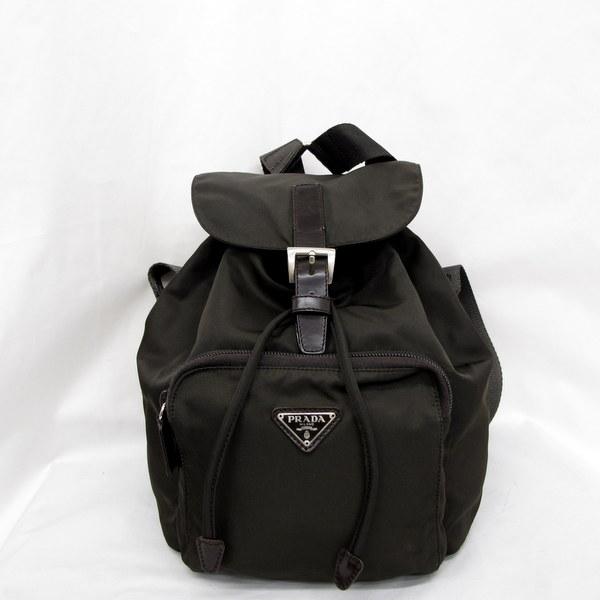 3fe63022180b ... discount prada bag prada rucksack brown nylon triangle logo bag bag  drawstring purse ladys higashiosaka store
