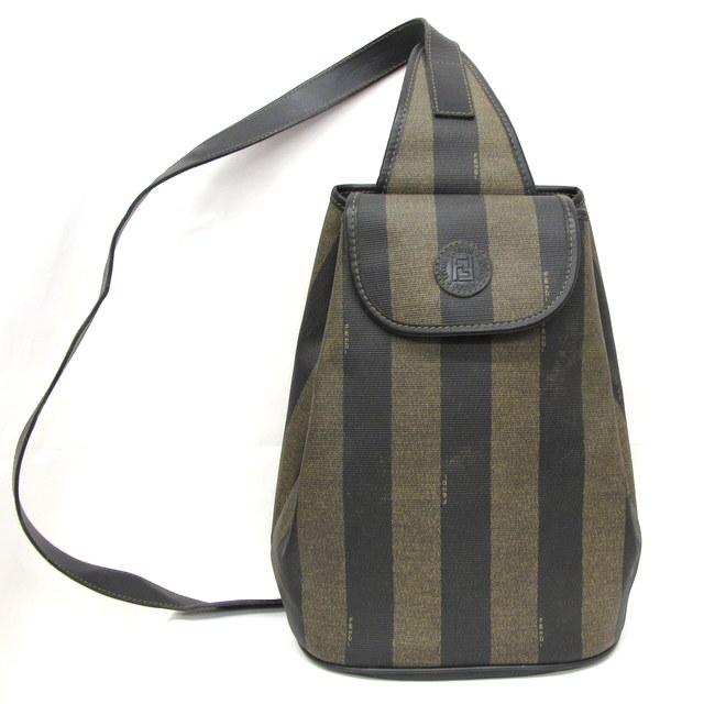 Higashiosaka 246160 Made In Fendi Bag One Shoulder Pecan Stripe Khaki Black Lady S Italy