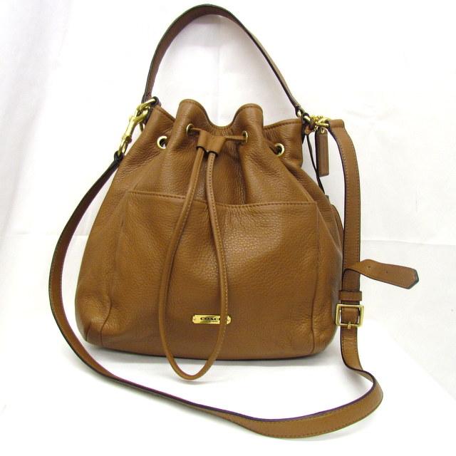 Take Coach Bag Shoulder Handbag 2way Slant Drawstring Purse Tassel Brown Leather F27003 A1461 Lady S Higashiosaka 268254