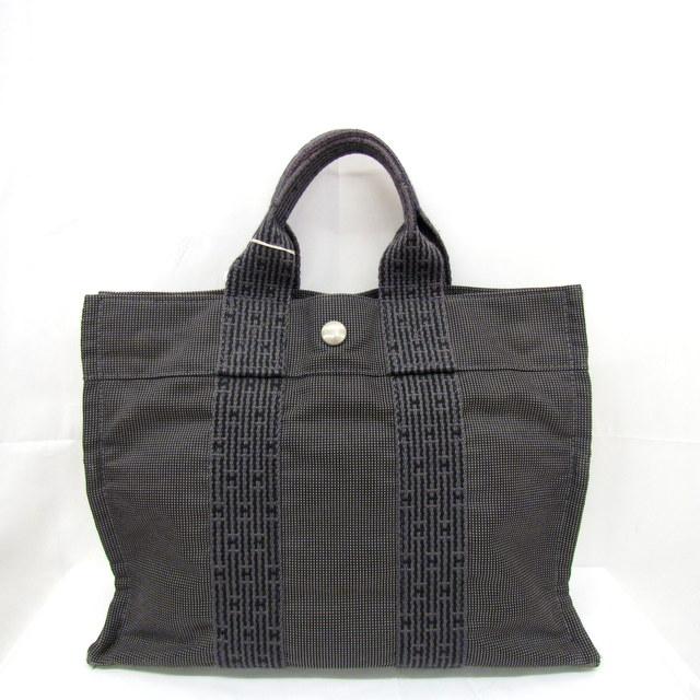 a6413109e161 エルメス バッグ HERMES エールライン PM トートバッグ ハンドバッグ グレー キャンバス 金具シルバー メンズ レディース 鞄