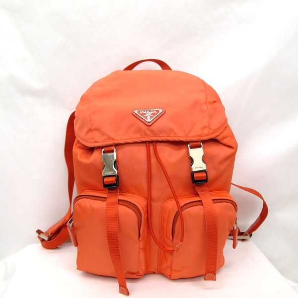 68f9e07bb98f ... netherlands prada prada rucksack bag nylon backpack bz0024 coral orange  triangle logo metal fittings silver ladys