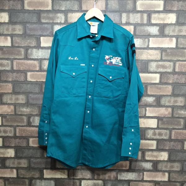 3580da37ae3 Men Mikunigaoka store 652515 RM1321 made in Carhartt car heart size 15 1 2  X 34 green green green work shirt tops long sleeves embroidery cotton  American ...
