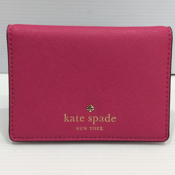 KATE SPADE ケイト・スペード カードケース パスケース レディース PWRU4188 ピンク ビビッドピンク ドット柄 美品 三国ヶ丘 722119 【USED】 RM2029