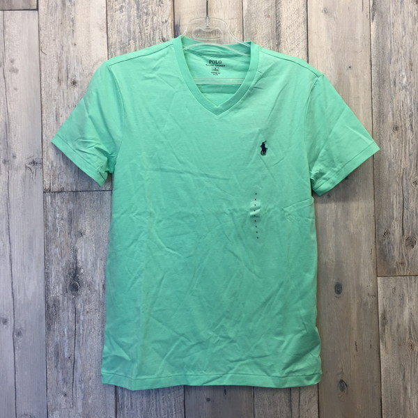 Next Size Store Shell Shirt Small Clothes And Free Secondhand V Polo Sew Cotton Neck Tops Sleeves Men Ralph Cut Short Green Lauren T 5Lcq43ARj