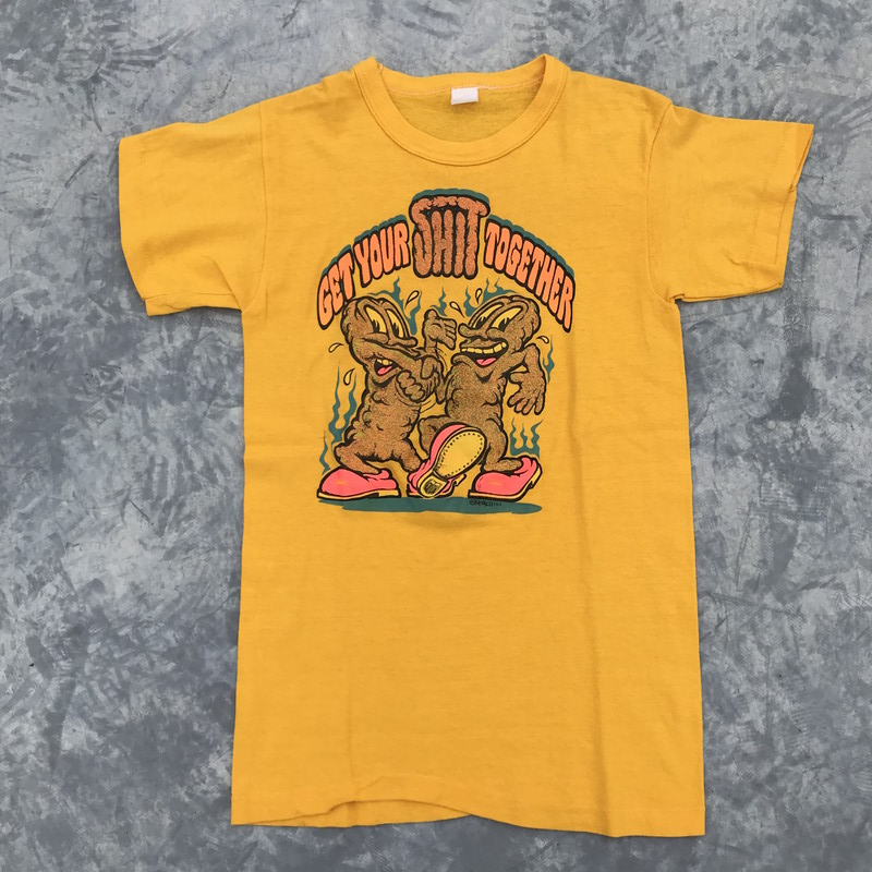 63a2f075a496b 70s ROACH Roach GET YOUR SHIT TOGETHER T-shirt graphic arts festival  vintage yellow XS Lady's men NEXT51 Mikunigaoka store RM519H