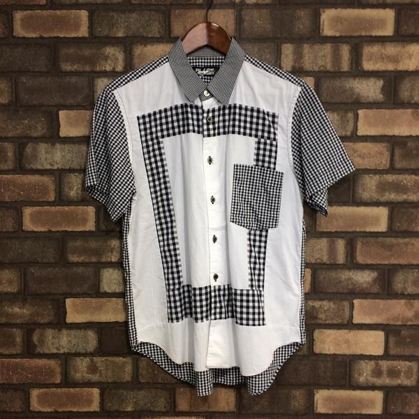 BLACK COMME des GARCONS ブラックコムデギャルソン ドッキングシャツ トップス 半袖 ホワイト チェック メンズ S 日本製 三国ヶ丘店 966841 【中古】 RM2523