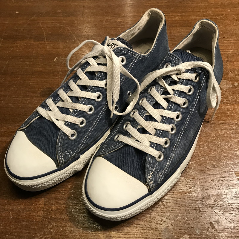 Vintage Mikunigaoka shop 755605 RM569H for CONVERSE Converse ALL STAR LOW  90s made in all-star low box existence rare navy men US8.5 USA 908a8a2a4
