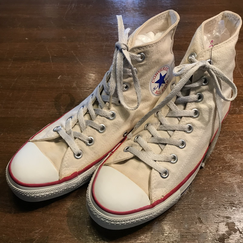 Product made in white unbleached men 7.5 USA vintage Mikunigaoka shop  013537 RM563H yes rare CONVERSE Converse ALL STAR HI all-stars in the  latter half of ... 40219e0ee