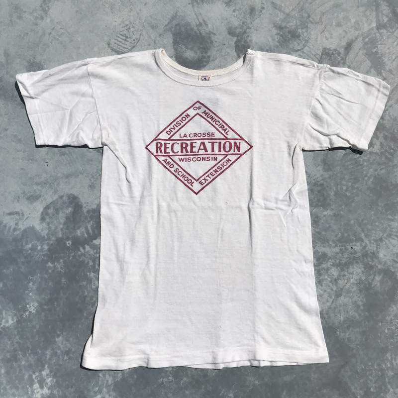 GENERAL ATHLETIC PRODUCTS Co. Tシャツ 染み込みプリント 希少 ダメージ有り ホワイト メンズ USA製 ヴィンテージ 三国ヶ丘店 021709 【中古】 RM559H