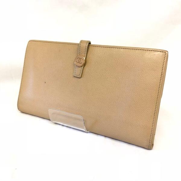 822abc5215a6 CHANELシャネルココボタン二つ折り財布ウォレットWホックベージュ長財布COCOCCレディース女性 ...