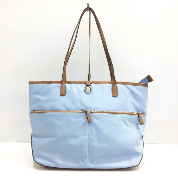 Michael Kors Tote Bag 30h5sktpt3c Shoulder Shawl Thoth Nylon Leather Light Blue Tea Brown Lady S Mikunigaoka 055612