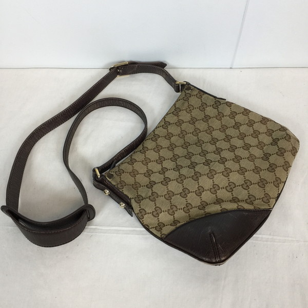 Shell Mound 631787 Rk2260a For Gucci Steering Wheel Leather Bag 70s 80s Made In Old Rare Crest Charm Brown Whole Pattern Lady S