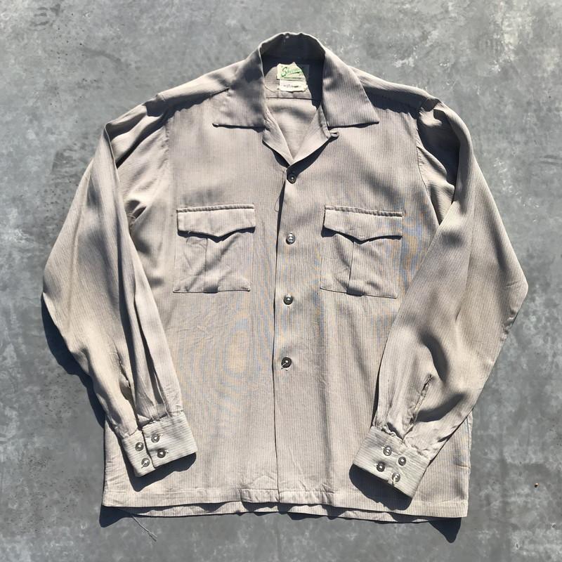 A Sherman ギャバジンシャツ 40's 50's オープンカラーシャツ シェルボタン グレー ストライプ メンズ M ヴィンテージ 三国ヶ丘店 174054 【中古】 RM697H