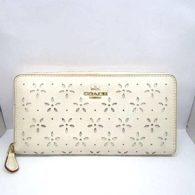 finest selection 3fa85 bca12 COACH coach long wallet long wallet round zip fastener F53868 floral  leather punching off-white lam gold floral design lady's cute fashion  Lady's ...