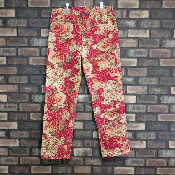 SUPREME シュプリーム 18ss Washed Regular Jeans Flower ボトムス 花柄 デニム レッド ブラウン 総柄 メンズ 32 三国ヶ丘店 174559 【中古】 RM421T