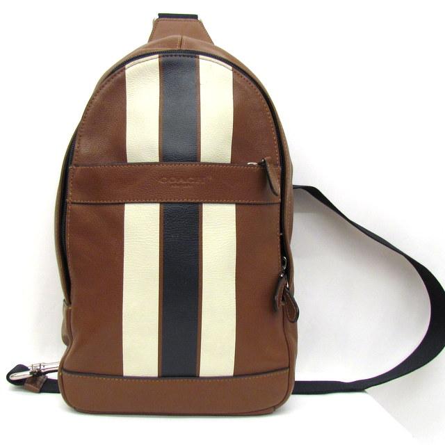 fb958e3a0e9a Take COACH coach body bag crossbody one shoulder bag sling bag slant   F72226 leather brown white navy men bag bag Higashiosaka store 287354  RYB0478