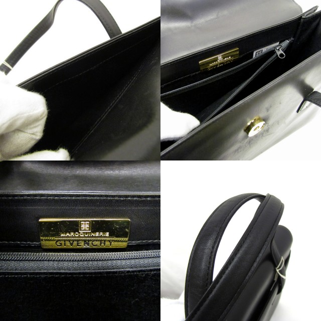 Higashiosaka shop 290194 RYB0556 made in MAROQUINERIE GIVENCHY  ジバンシィジバンシーハンドバッグレザー cowhide square black Lady s bag bag Japan 19d1c52ef46