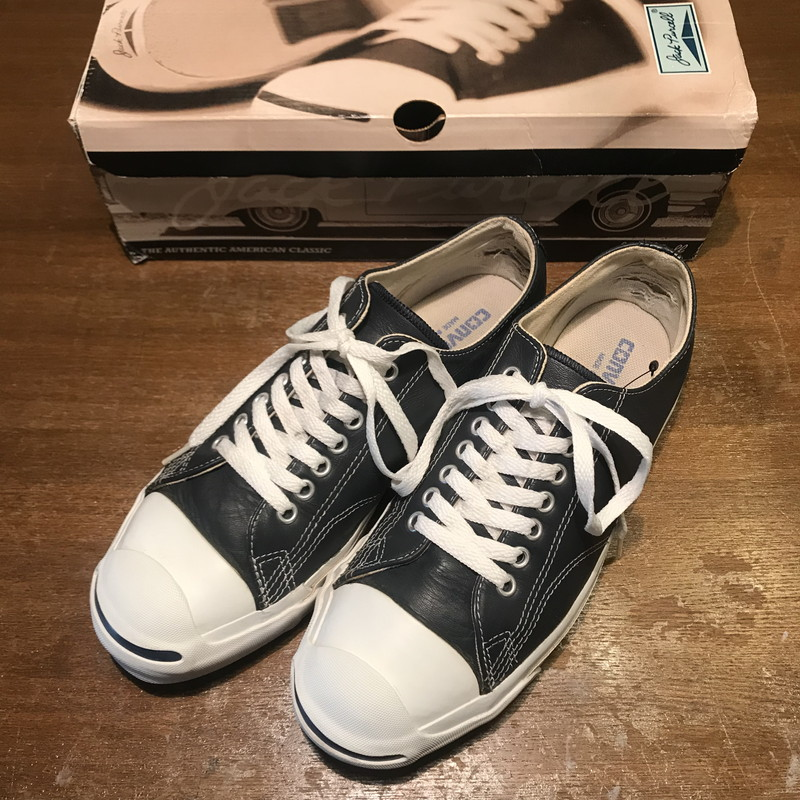 364a8f0b4fbcb9 Vintage Mikunigaoka shop 222298 RM745H made in CONVERSE Converse JACK  PURCELL LOW 90 s Jack Pursel leather genuine leather navy men US8 USA