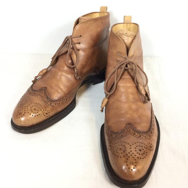 Stefano Branchini ステファノ ブランキーニ ウイングチップ ミドルカットブーツ 靴 ブラウン メンズ UK 7 イタリア製 貝塚店 518108 【中古】 RK162HI