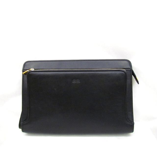 d445f30f1a45 BALENCIAGA Valencia calyx latch bag second bag leather black gold BB line  ACE plain fabric Shin pull bag men Higashiosaka store 299609 RYB1300