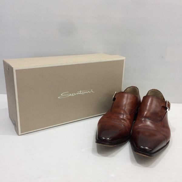 SANTONI サントーニ モンクストラップレザーシューズ 靴 ブーツ ブラウン メンズ 三国ヶ丘店 人気海外一番 RM807T 6.5 中古 275355 代引き不可 イタリア製