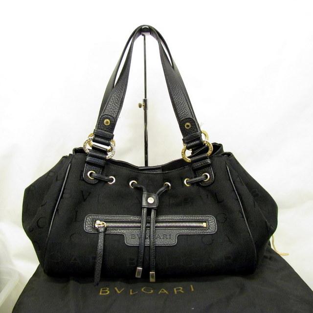 77036088a6f0 BVLGARI ブルガリ ハンドバッグ ロゴマニア 巾着 ブラック ゴールド ワンショルダー バッグ ABELEL キャンバス レザー 保存袋