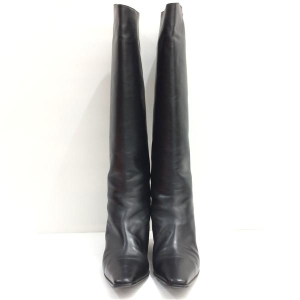 HERMES エルメス ブーツ レザー ロングブーツ 靴 皮革 24.5cm相当 ブラック レディース 37 1/2 イタリア製 三国ヶ丘店 306837 【中古】 RMB1113