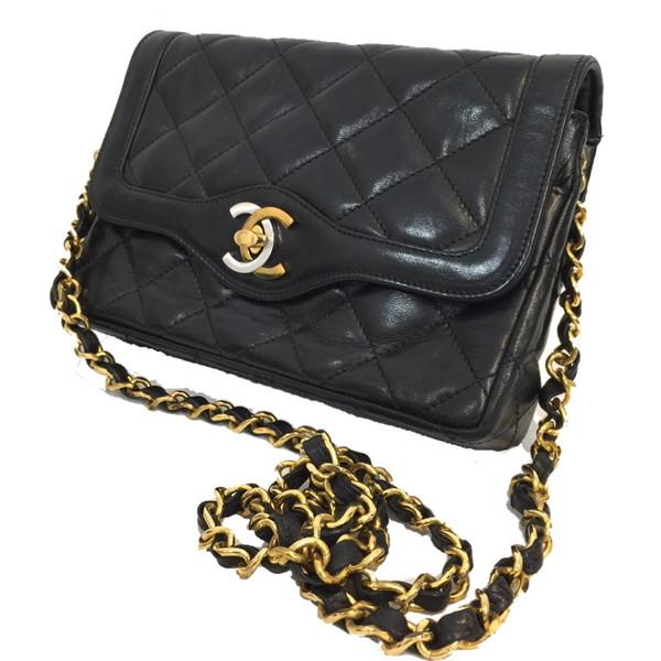 fbb1ae47c2b7 Brand vintage shell mound shop 591897 RK724U for CHANEL Chanel matelasse 90s  made in chain shoulder bag bag bag bag BAG lambskin here mark CC black  black ...