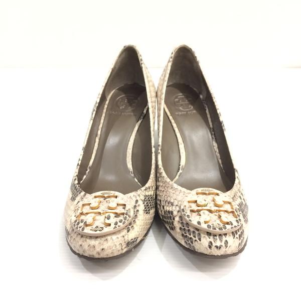bdb9fbaea6e TORY BURCH Tolly Birch python pattern pumps shoes leather shoes logo wedge  sole black beige Lady's 7 1/2M 24.5cm Mikunigaoka store 277625 RMB1154