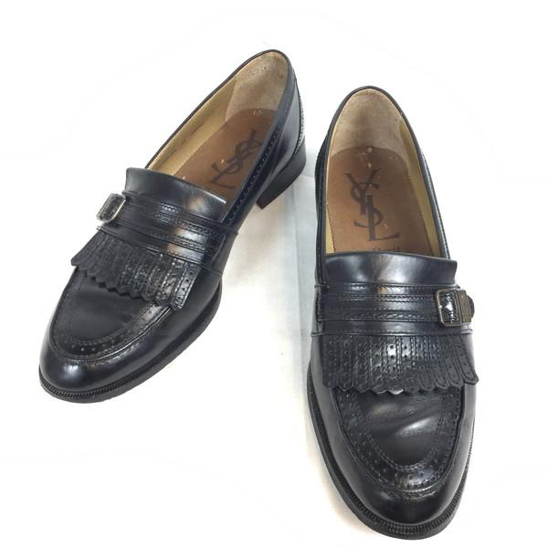 07ccf54bb yves saint laurent Yves圣罗兰流苏低毛皮鞋鞋鞋鞋黑色黑black皮革皮革人27.0日本制造贝冢店663273 RK331HI