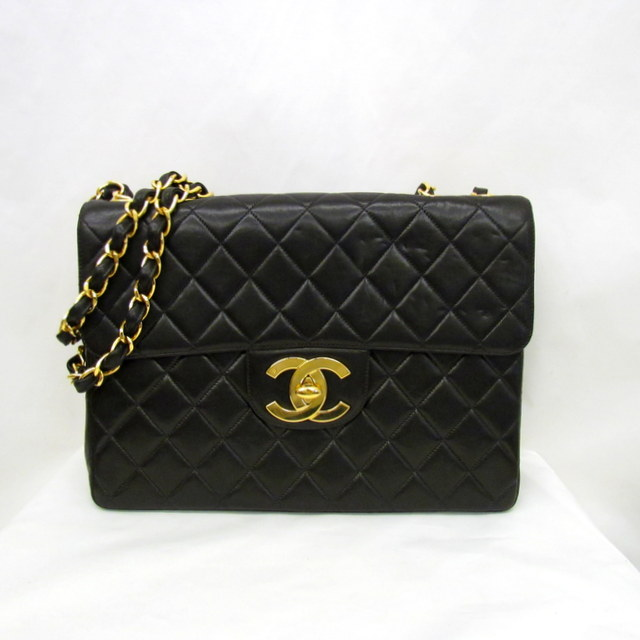 051ae694494 Take CHANEL Chanel chain shoulder one shoulder bag matelasse W flap W chain  leather black black ...