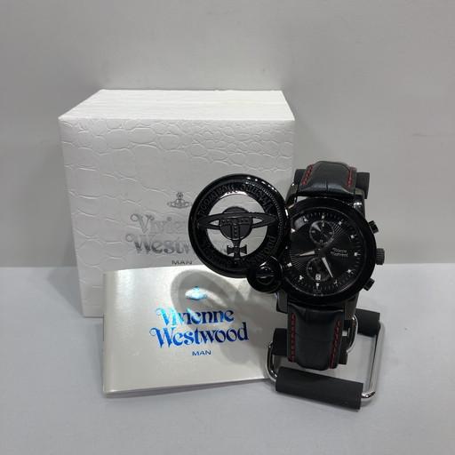 Vivienne Westwood MAN ヴィヴィアンウエストウッドマン CAGE スライドカバーウォッチ クロノグラフ VW-2363-34 腕時計 オーブ ホワイト ブラック レッド シルバー メンズ ユニセックス 三国ヶ丘店 480001 【中古】 RM0518I