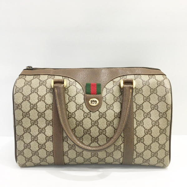 Mikunigaoka shop 483873 RM1760T made in GUCCI Gucci handbag mini-70, Boston  generation old Gucci sherry line VINTAGE vintage bag bag leather PVC GG